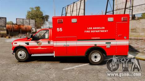 Ford E-350 LAFD Ambulance [ELS] for GTA 4 left view