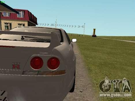 Nissan Skyline R33 GT-R for GTA San Andreas inner view