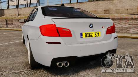 BMW M5 Unmarked Police [ELS] for GTA 4 back left view