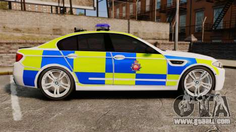 BMW M5 Greater Manchester Police [ELS] for GTA 4 left view