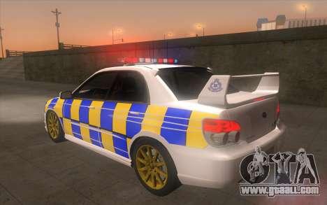Subaru Impreza 2006 WRX STi Police Malaysian for GTA San Andreas left view