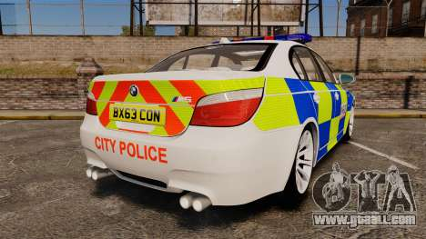 BMW M5 E60 City Of London Police [ELS] for GTA 4 back left view