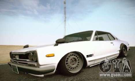 Nissan Skyline 2000GTR 1967 Hellaflush for GTA San Andreas back left view