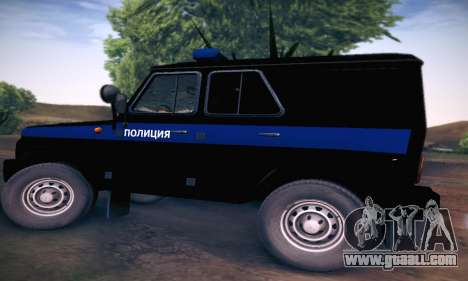 Uaz Hunter Police for GTA San Andreas back left view