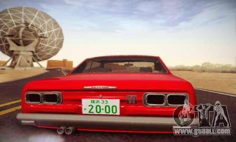 Nissan Skyline 2000GTR 1967 Hellaflush for GTA San Andreas upper view
