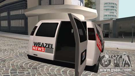 Newsvan Rumpo GTA 5 for GTA San Andreas back left view
