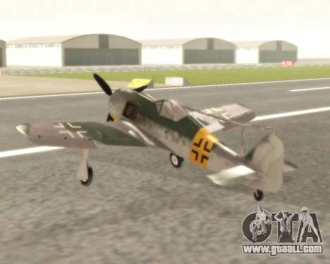 Focke-Wulf FW-190 F-8 for GTA San Andreas back left view