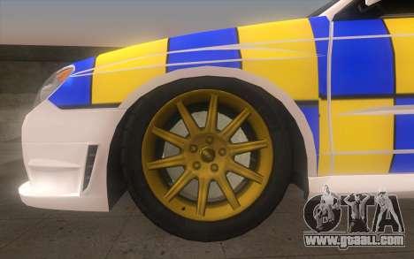 Subaru Impreza 2006 WRX STi Police Malaysian for GTA San Andreas back left view
