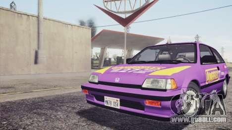 Honda Civic Si 1986 HQLM for GTA San Andreas interior