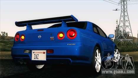Nissan Skyline GT-R R34 V-Spec for GTA San Andreas left view