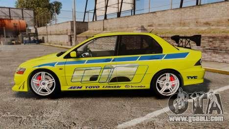 Mitsubishi Lancer Evolution VII 2002 for GTA 4 left view