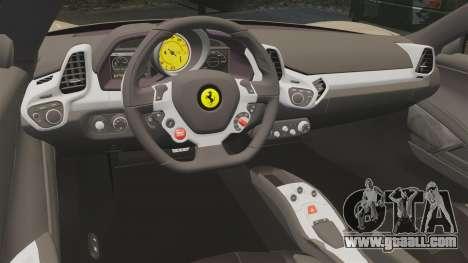 Ferrari 458 Italia 2011 for GTA 4 side view