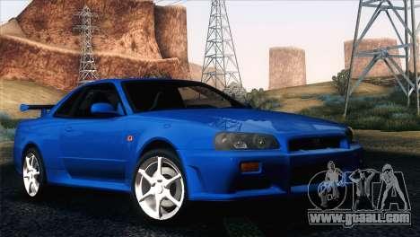 Nissan Skyline GT-R R34 V-Spec for GTA San Andreas