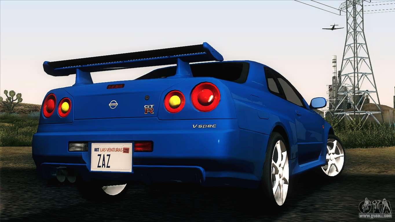 Nissan Skyline Gt R R34 V Spec For Gta San Andreas