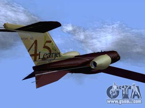 Bombardier Learjet 45 for GTA San Andreas back left view