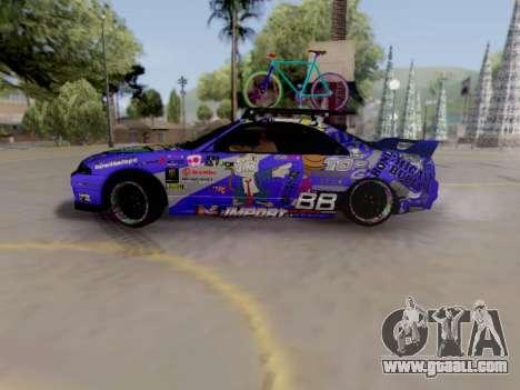 Nissan GT-R R33 HellaFlush V2 for GTA San Andreas back left view