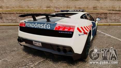 Lamborghini Gallardo Hungarian Police [ELS] for GTA 4 back left view
