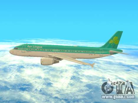 Airbus A320-200 Aer Lingus for GTA San Andreas bottom view