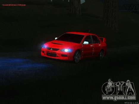 Mitsubishi Lancer Evo VIII for GTA San Andreas inner view