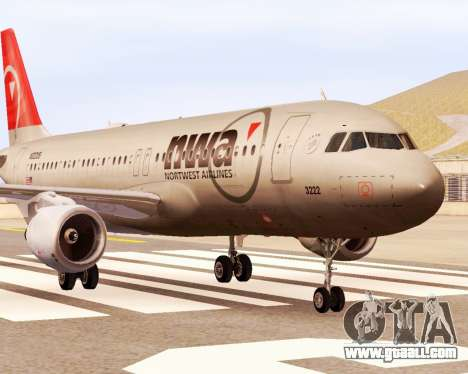 Airbus A320 NWA for GTA San Andreas back left view