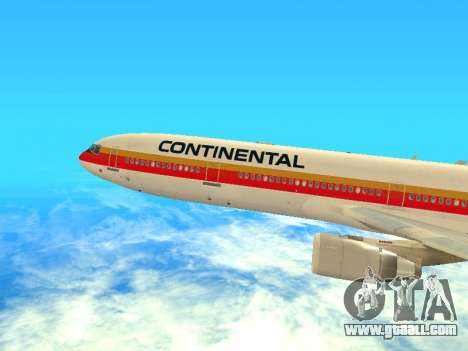 McDonnell Douglas MD-11 Continental Airlines for GTA San Andreas back left view