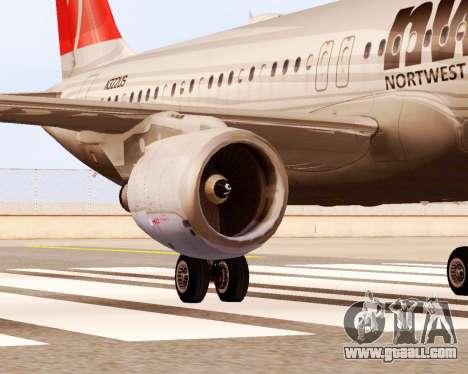 Airbus A320 NWA for GTA San Andreas right view