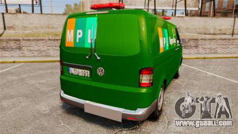 Volkswagen Transporter T5 Hungarian Post [ELS] for GTA 4 back left view
