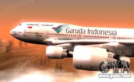 Boeing 747-400 Garuda Indonesia for GTA San Andreas back left view