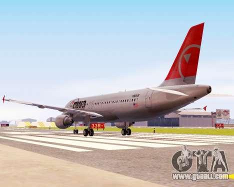 Airbus A320 NWA for GTA San Andreas back view