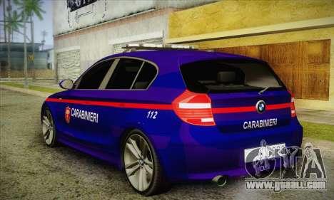 BMW 120i SE Carabinieri for GTA San Andreas back left view
