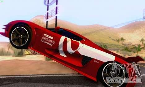 Koenigsegg One 2014 for GTA San Andreas inner view