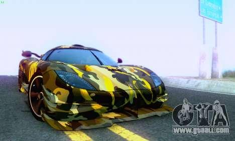 Koenigsegg One 2014 for GTA San Andreas upper view