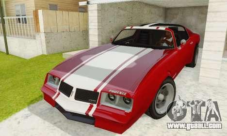 Imponte Phoenix из GTA 5 for GTA San Andreas inner view