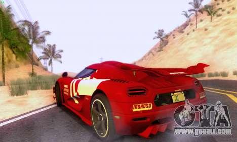 Koenigsegg One 2014 for GTA San Andreas back view