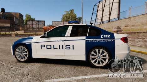 BMW F30 328i Finnish Police [ELS] for GTA 4 left view