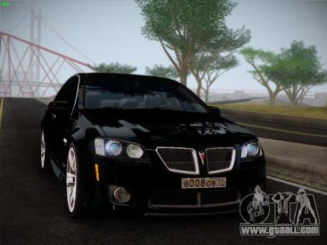 Pontiac G8 GXP 2009 for GTA San Andreas back view