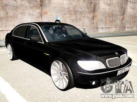BMW 760Li for GTA San Andreas bottom view