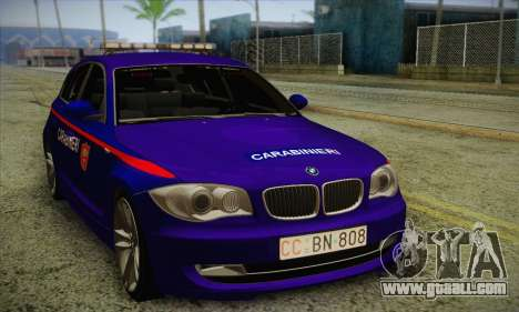 BMW 120i SE Carabinieri for GTA San Andreas left view