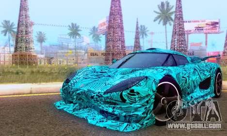 Koenigsegg One 2014 for GTA San Andreas interior