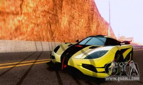 Koenigsegg One 2014 for GTA San Andreas back left view