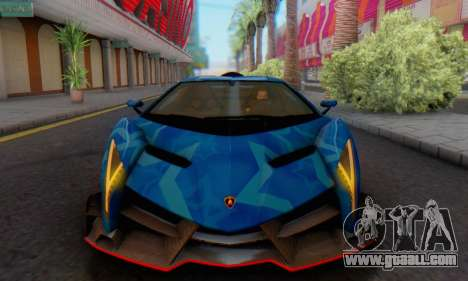 Lamborghini LP750-4 2013 Veneno Blue Star for GTA San Andreas back left view