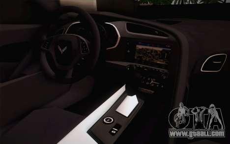 Chevrolet Corvette Stingray C7 2014 for GTA San Andreas back view