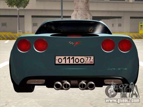 Chevrolet Corvette Grand Sport for GTA San Andreas back view