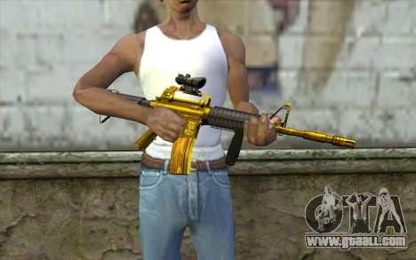 Golden M4 with a view for GTA San Andreas third screenshot
