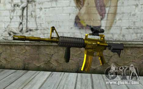 Golden M4 with a view for GTA San Andreas