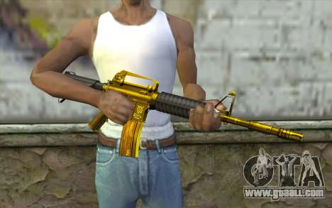 Golden M4 without sight for GTA San Andreas third screenshot
