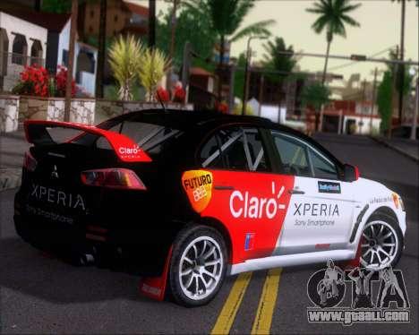 Mitsubushi Lancer Evolution Rally Team Claro for GTA San Andreas right view