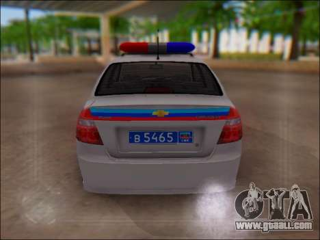 Chevrolet Aveo Police LNR for GTA San Andreas inner view