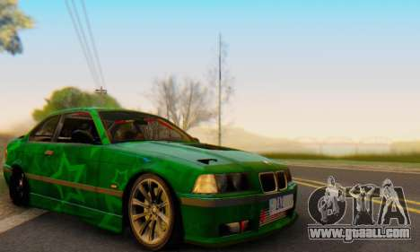 BMW M3 E36 Coupe Blue Star for GTA San Andreas inner view