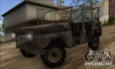 Burnt UAZ 469 for GTA San Andreas left view